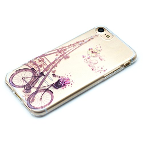 "Coque Cover iPhone 6 Plus / 6S Plus, IJIA Ultra-mince Transparent Bicyclette Rose Tour Eiffel TPU Doux Silicone Bumper Case Shell Coque Housse Etui pour Apple iPhone 6 Plus / 6S Plus 5.5"" + 24K Or Aut"