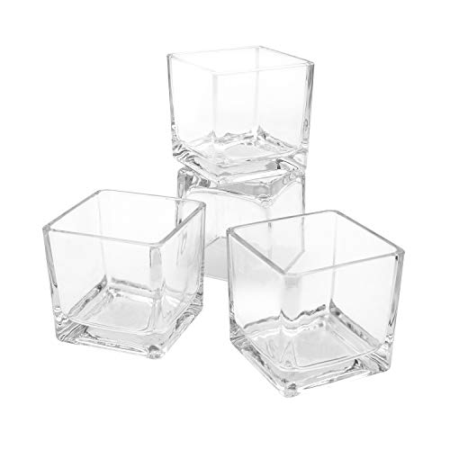 (Royal Imports Flower Glass Vase Decorative Centerpiece for Home or Wedding Clear Cube Shape, 2.5