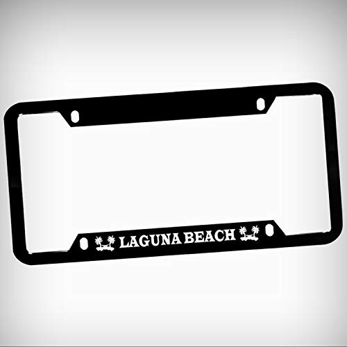 Laguna Beach Zinc Metal Tag Holder Car Auto License Plate Frame Decorative Border - Black Sign for Home Garage Office Decor