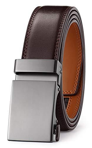 Men's Belt Ratchet Dress Belt with Automatic Buckle Brown/Black-Trim to Fit-35mm wide-501-110-DARK BROWN