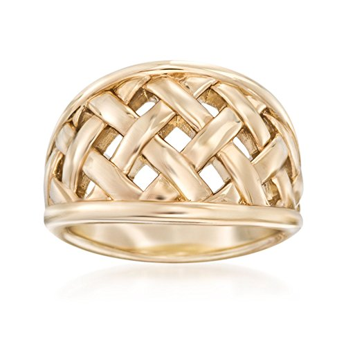 (Ross-Simons 14kt Yellow Gold Open Basketweave Ring)