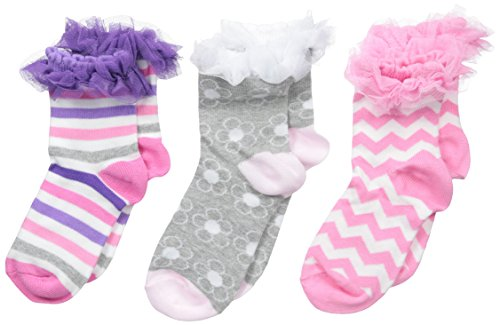 Price comparison product image Jefferies Socks Big Girls' Ruffle Stripe Flower Chevron Socks 3 Pair Pack, Multi, Small(Pack of 3)