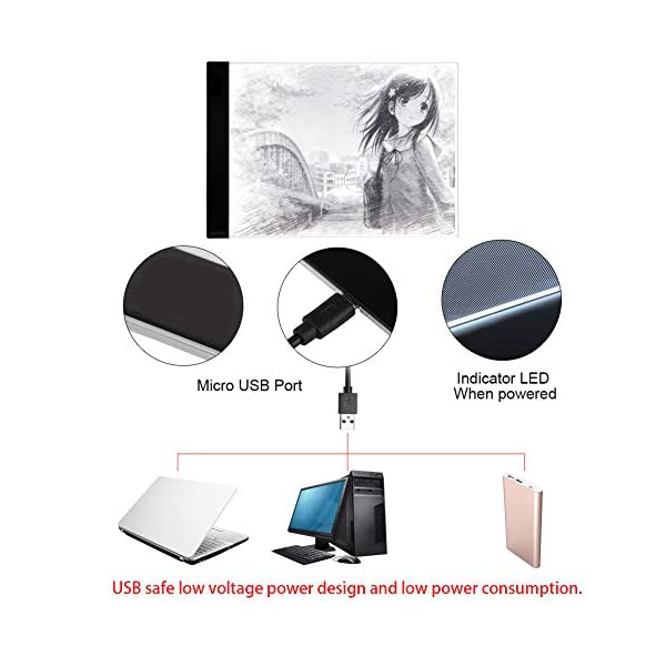 A4-Ultra-Thin-LED-Art-Stencil-Board-Light-Pad-Tracing-Drawing-Pad-Board-Light-Box-for-Artists-Drawing-Sketching-Animation-Active-Area-A4-with-US-Adapter-5V-USB-Power-1pc