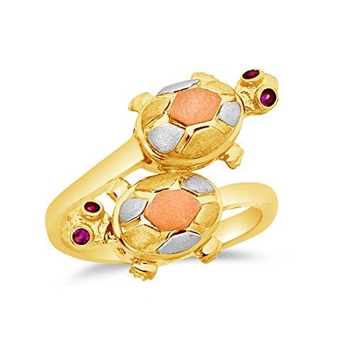 Size - 8 - Jewel Tie Solid 14k Rose Yellow & White Gold Fancy Fashion Turtle Split Shank Ring - 14k White Gold Turtle