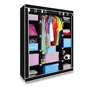 Lienzo armario, Triple Lona ropa armario barra para colgar estantes de almacenamiento dormitorio muebles 175 cmx135cmx45 cm Beige y negro de datos ...