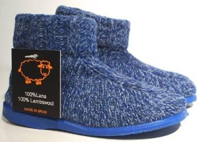 Natural World Hausschuhe Hüttenschuhe Schafwolle blau Unisex