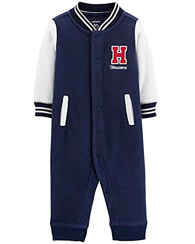 Carter's Baby Boys' Handsome Fleece Jumpsuit,Navy Blue Handsome,18 Months