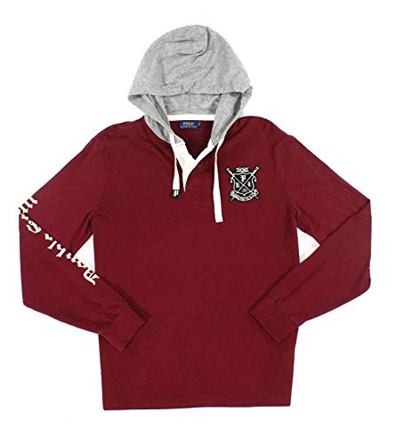 - Polo Ralph Lauren Men's Hooded Cotton Rugby Shirt Red X-Large