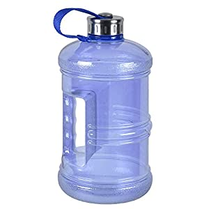 3 Liter BPA Free Reusable Plastic Drinking Water Bottle Jug Container w/ Hand Holder Canteen and Stainless Steel Cap - Dark Blue