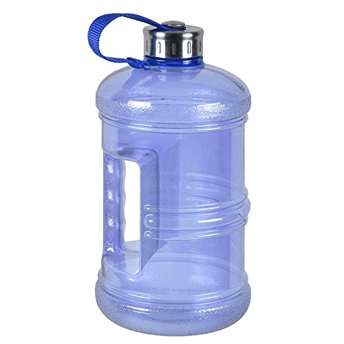 - 3 Liter BPA Free Reusable Plastic Drinking Water Bottle Jug Container w/Hand Holder Canteen and Stainless Steel Cap - Dark Blue