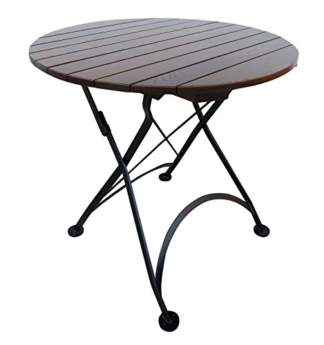 Round Slat Top (Mobel Designhaus French Café Bistro Folding Table, Jet Black Frame, 32