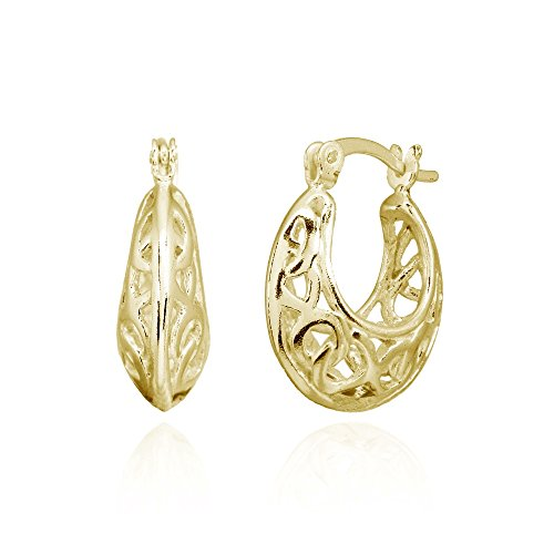 Yellow Gold Flashed Sterling Silver Polished Filigree Intertwined Infinity Small Hoop Earrings