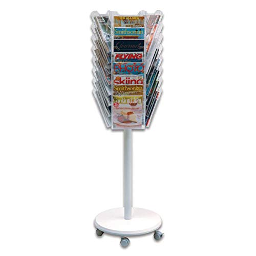 (Ultimate Office Literature Display 24-Pocket Mobile Revolving Model with Crystal Clear Cascading)