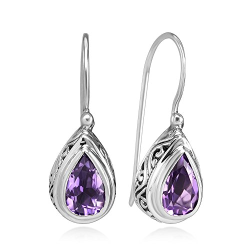 925 Sterling Silver Filigree Bali Inspired Amethyst Gemstone Teardrop Dangle Hook Earrings -