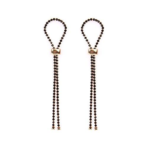 RIAH FASHION Sparkly Geometric Rhinestone Chandelier Hoop Statement Earrings - Cubic Zirconia Crystal Bridal Duster Dangles Fringe Tassel/Waterfall Drape/Circle Ring (Looped - ()