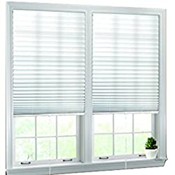 "Luxr Blinds Pleated Fabric Shades with Pull Cord Operation: Easy Installation Light Filtering Blinds- White, 36""x72"""