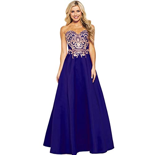 JVN by Jovani Womens 50070A Prom Strapless Evening Dress Blue 12