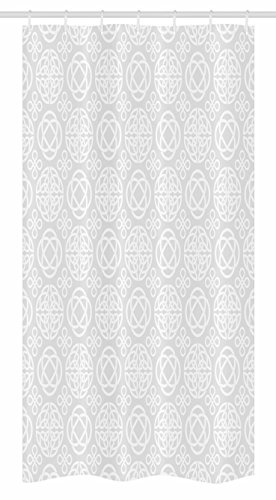 Ambesonne Celtic Stall Shower Curtain, Tribal Celtic Knots Eternity Forms Pattern Boho Ireland Irish Cross Floral Artprint, Fabric Bathroom Decor Set with Hooks, 36 W x 72 L Inches, Grey White