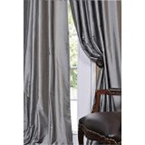 Sillyitems 2 Pc 120″ Long Grey Grommet Faux Silk Panels Window Curtain