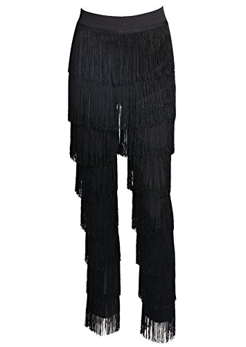 Miss ord Women Fashion Tassels Ballroom Latin Tango Salsa Practice Performance Dance Pants Black M