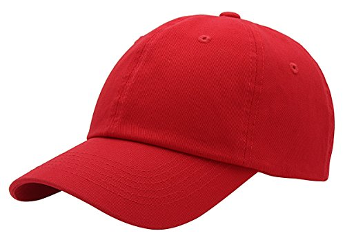 (BRAND NEW 2016 Classic Plain Baseball Cap Unisex Cotton Hat For Men & Women Adjustable & Unstructured For Max Comfort Low Profile Polo Style  Unique & Timeless Clothing Accessories By Top Level, Red, One Size)