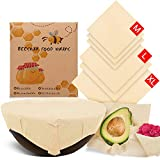 Reusable Beeswax Food Wrap 6 Pack (3 Medium, 2 Large, 1 Extra Large), Dye Free Eco-Friendly Organic Bees Wax Wraps, Sustainable Plastic Free Food Storage Wrappers, Non-Toxic Washable Cling Bowl Covers