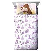 Disney Princess Beauty & The Beast Belle En Rose 4 Piece Full Sheet Set (Official Product)