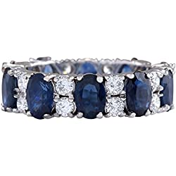 6.95 Carat Natural Blue Sapphire And Diamond Ring 14K Solid White Gold