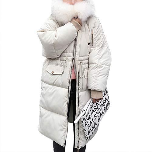 Warm Waist Con Women Zipper Tie Winter White Coat Sleeve Sintetica Mtydudxe Long Jacket Pelliccia Cappuccio qwB45Z0