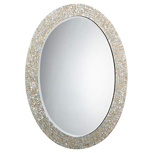 Kathy Kuo Home June Coastal Beach Oval Ivory Shell Wall Mounted Mirror