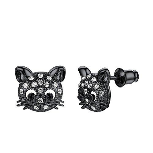 Women Girls Kitten Lover Gift Black / 18K Gold/Rose Gold Plated Rhinestone Diamond Accented Cat Stud Earrings (Black)