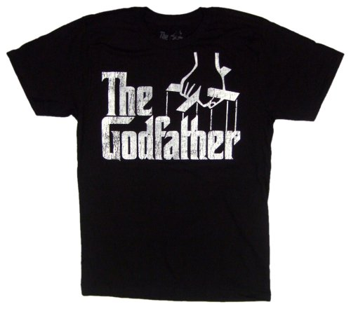 American Classics Men's Godfather Distressed Logo T-Shirt,Vintage Black,Small