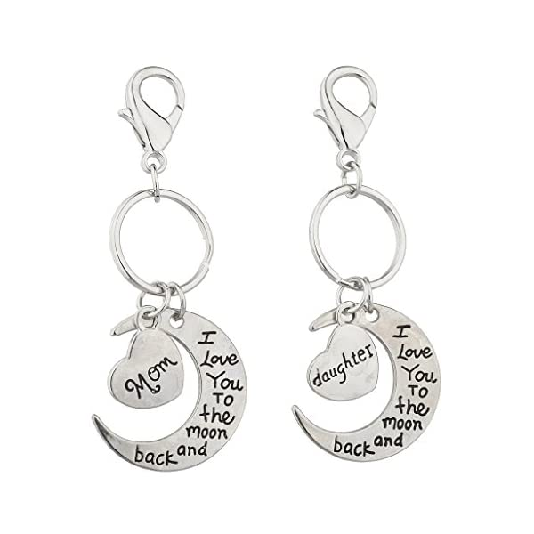 Lux Accessories Silvertone Mom n Daughter I love you to the Moon n Back Keychain
