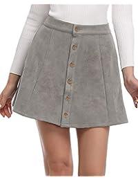 Women's Faux Suede Button Closure A-Line Mini Short Skirt Clearence