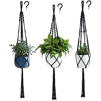 PROTITOUS Macrame Plant Hanger 4pcs Beige Indoor Hanging Planter Basket Flower Pot Holder Cotton Rope with Ceiling Hook,Same Size,4 Legs 37 Inch