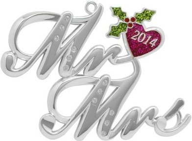 Harvey Lewis™ Silver Plated Mr & Mrs Ornament - MADE WITH SWAROVSKI® ELEMENTS