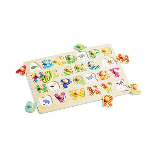 Wooden Peg Puzzle for toddlers - 3 Piece puzzle set for kids - Alphabet ABC, Numbers and Shapes Toy - Perfect pegged puzzles for kid learning letters, number, shape board puzzles for toddler ages 3+ by Orange Pieces (Image #5)