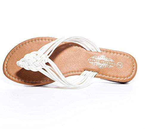 Charles Albert Womens Boho-chic Strappy Sandalo Piatto Intrecciato Bianco