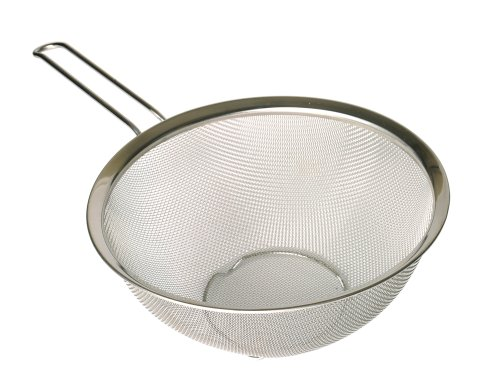 Flat Bottom Strainer - p!zazz 401-0020 Strainer with Stainless Steel Flat Bottom Loop Handle, 8.75-Inch