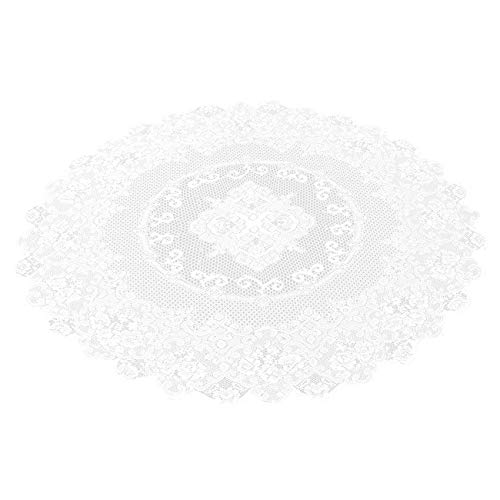 Juvale 59-Inch Round Decorative Lace Tablecloth with Elegant Floral Patterns for Birthday Parties, Weddings, Dining Room Tables, White -