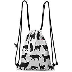 Organizer Pocket Cat,Black Cat Silhouettes in Different Poses Domestic Pets Kitty Paws Tail and Whiskers, Black White W13.8 x L17 Inch Practical Unise Small Bag