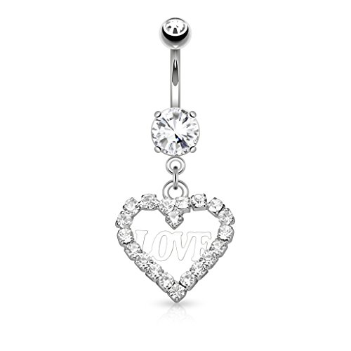 heart dangle belly button rings - 3