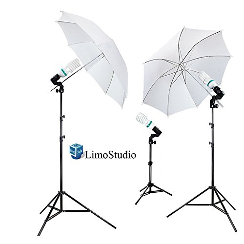 LimoStudio 1000 Watt Photography Studio Umbrella Cool Fluorescent Continuous Lighting Kit Set- 3 Light Stands & 3 Bulbs, AGG341 by LimoStudio