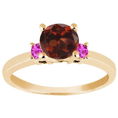 1.16 Ct Round Red Garnet Pink Sapphire 925 Yellow Gold Plated Silver (Garnet Pink Sapphire)