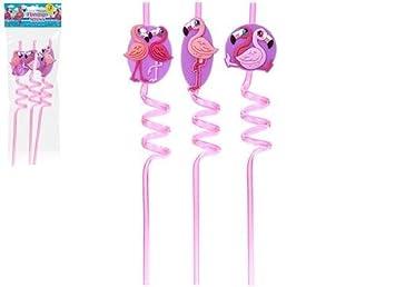 TOYLAND 1 x Paquete de 3 pajas locas Flamingo - pajitas de ...