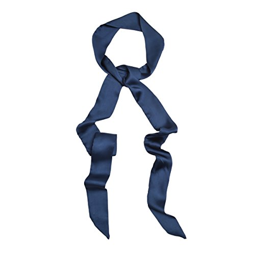 IvyFlair Long Skinny Tie Neck Scarf Choker, Navy (Silk Scarves For Sex)