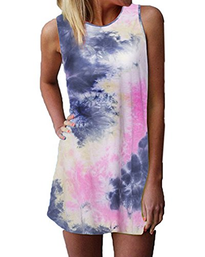 ZANZEA Women's Sleeveless T Shirt Dress Tie-dye Round Neck Rainbow Tank Mini Dress US 14