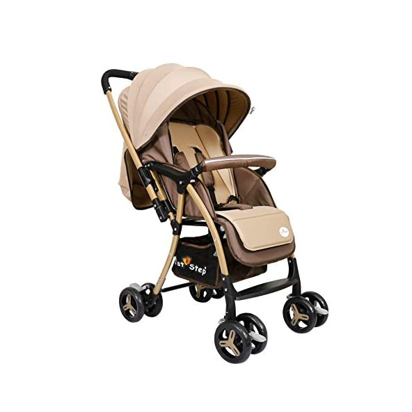 1st Step Baby Pram Cum Stroller – 5 Point Safety Harness/Infinitely Reclining and Cushioned Seat/Reversible Handle/Front Swivel Wheels – Coffee Brown