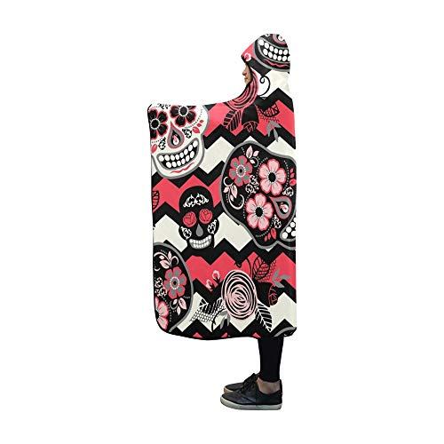 YUMOING Hooded Blanket Dia De Los Muertos Day Dead Blanket 60x50 Inch Comfotable Hooded Throw Wrap ()
