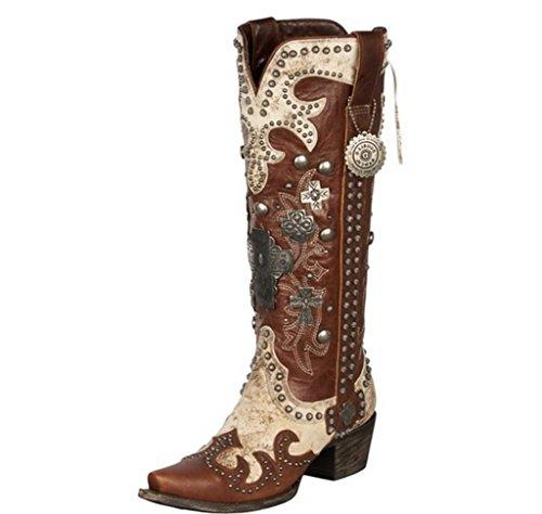 Rijstrook Dames Voor Dubbele D Ranch Munitie Boot Snip Toe Teen - Dd9001c Crème